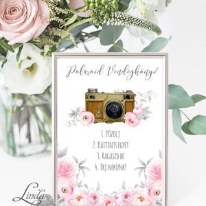 Polaroid fotó Esküvői Felirat A4, fénykép, fotó albumhoz, Esküvői kép, Esküvő Dekor, Esküvői felirat, virágos, rózsás, Album & Fotóalbum, Emlék & Ajándék, Esküvő, Vendégkönyv, Fotó, grafika, rajz, illusztráció, Papírművészet, A/4-es Esküvői Felirat Dekoráció, bármilyen szöveggel, keret nélkül.\n\nBármilyen feliratot kérhetsz r..., Meska