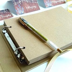 Esküvői Emlékkönyv, gyűrűs fotó mappa Vendégkönyv, virágos könyv, virág, elegáns, rózsás, rózsaszín, arany, rosegold (LindaButtercup) - Meska.hu