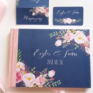Esküvői Emlékkönyv, sötétkék, rózsaszín virágos, Vendégkönyv, könyv,  rózsás, virág, elegáns, Esküvői vendégkönyv, rózsa, Esküvő, Nászajándék, Esküvői dekoráció, Naptár, képeslap, album, Otthon & lakás, Fotó, grafika, rajz, illusztráció, Papírművészet, Esküvői emlékkönyv, vendégkönyv\nSötétkék borítóval és rózsaszín gerinccel, szalaggal.\n\nMÉRET:\nFekvő ..., Meska