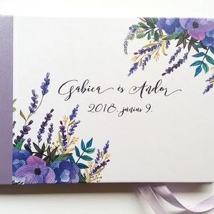 Esküvői Emlékkönyv, Lila levendulás, Vendégkönyv, könyv, rusztikus, bohém, virágos, Esküvői vendégkönyv, levendula, réti (LindaButtercup) - Meska.hu