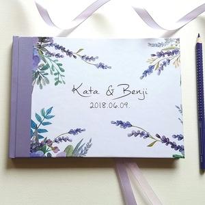 Esküvői Emlékkönyv, Lila levendulás, Vendégkönyv, könyv, rusztikus, bohém, virágos, Esküvői vendégkönyv, levendula, réti, Esküvő, Vendégkönyv, Emlék & Ajándék, Esküvői emlékkönyv, vendégkönyv Lila gerinccel és szalaggal  MÉRET: Fekvő A5 Ha szükséges más méret ..., Meska