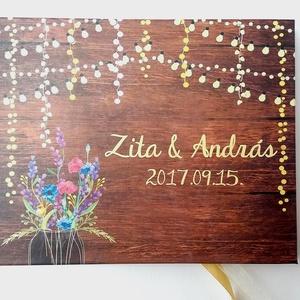 Esküvői Emlékkönyv, Réti virágos, könyv, rusztikus, bohém, réti virágos, Esküvői vendégkönyv, fényfüzér, pajta, tanya, Esküvő, Vendégkönyv, Emlék & Ajándék, Esküvői emlékkönyv, vendégkönyv Arany gerinccel és szalaggal  MÉRET: Fekvő A5 Ha szükséges más méret..., Meska