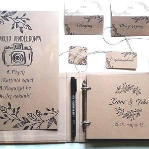 Esküvői Emlékkönyv, gyűrűs fotó mappa Vendégkönyv, rétivirágos könyv, arany, pipacs, pajta, rusztikus, bohém, fényfüzér (LindaButtercup) - Meska.hu