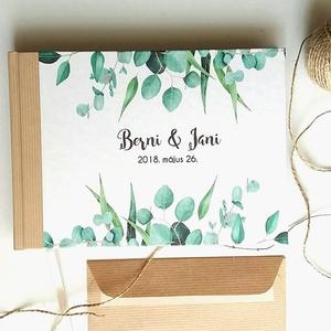 Greenery Esküvői Emlékkönyv, Vendégkönyv, könyv, Esküvői vendégkönyv, zöld levél, eukaliptusz, natúr, természetközeli, Esküvő, Nászajándék, Esküvői dekoráció, Naptár, képeslap, album, Otthon & lakás, Fotó, grafika, rajz, illusztráció, Könyvkötés, Esküvői emlékkönyv, vendégkönyv\nBarna-Natúr gerinccel és szalaggal\n\nMÉRET: \nFekvő A5\nHA szükséges má..., Meska