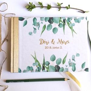 Greenery Esküvői Emlékkönyv, Vendégkönyv, könyv, Esküvői vendégkönyv, zöld levél, eukaliptusz, natúr, természetközeli, Esküvő, Nászajándék, Esküvői dekoráció, Naptár, képeslap, album, Otthon & lakás, Fotó, grafika, rajz, illusztráció, Könyvkötés, Esküvői emlékkönyv, vendégkönyv\narany gerinccel és szalaggal\n\nMÉRET: \nFekvő A5\nHA szükséges más mére..., Meska