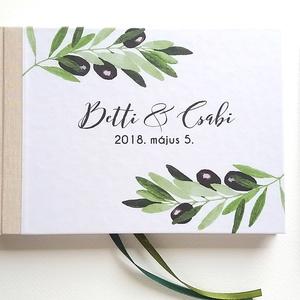Greenery Esküvői Emlékkönyv, Vendégkönyv, könyv, Esküvői vendégkönyv, zöld levél, eukaliptusz, oliva ág, oliva bogyó, Esküvő, Emlék & Ajándék, Vendégkönyv, Fotó, grafika, rajz, illusztráció, Könyvkötés, Esküvői emlékkönyv, vendégkönyv\nNatúr barna-bézs gerinccel és zöld szalaggal\n\nMÉRET: \nFekvő A5\nHA sz..., Meska