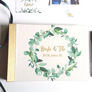 Esküvői Emlékkönyv, gyűrűs fotó mappa Vendégkönyv, természetközeli könyv, arany, rusztikus, levélkoszorú, greenery, Esküvő, Vendégkönyv, Emlék & Ajándék, Esküvői emlékkönyv, vendégkönyv Arany gerinccel   MÉRET: Fekvő A5 Ha szükséges más méret is kérhető...., Meska