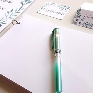 Esküvői Emlékkönyv, gyűrűs fotó mappa Vendégkönyv, természetközeli könyv, natúr, rusztikus, levélkoszorú, greenery (LindaButtercup) - Meska.hu