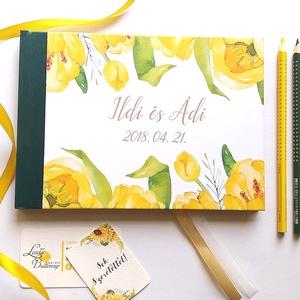 Greenery Esküvői Emlékkönyv, Vendégkönyv, könyv, Esküvői vendégkönyv, sárga tulipán, tavaszi, virágos, Esküvő, Nászajándék, Esküvői dekoráció, Naptár, képeslap, album, Otthon & lakás, Fotó, grafika, rajz, illusztráció, Könyvkötés, Esküvői emlékkönyv, vendégkönyv\nzöld gerinccel és arany szalaggal\n\nMÉRET: \nFekvő A5\nHA szükséges más..., Meska