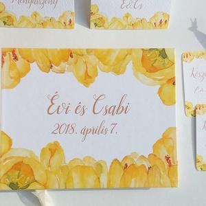 Greenery Esküvői Emlékkönyv, Vendégkönyv, könyv, Esküvői vendégkönyv, sárga tulipán, tavaszi, virágos, Vendégkönyv, Emlék & Ajándék, Esküvő, Fotó, grafika, rajz, illusztráció, Könyvkötés, Esküvői emlékkönyv, vendégkönyv\ngyöngyház gerinccel és fehér szalaggal\n\nMÉRET: \nFekvő A5\nHA szüksége..., Meska