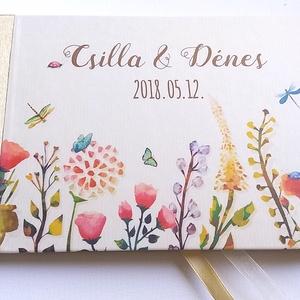 Esküvői Emlékkönyv, Réti virágos, könyv, rusztikus, bohém, réti virágos, bogár, pillangó, állatos,  vadvirágos, mező, Esküvő, Vendégkönyv, Emlék & Ajándék, Esküvői emlékkönyv, vendégkönyv Arany gerinccel és szalaggal  MÉRET: Fekvő A5 Ha szükséges más méret..., Meska