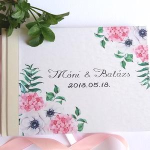 Esküvői Emlékkönyv, Vendégkönyv, virágos könyv, virág, elegáns, rózsás, rózsaszín, rózsa, romantikus, hortenzia (LindaButtercup) - Meska.hu