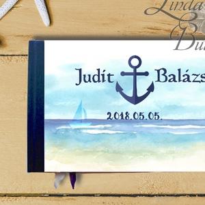 Esküvői Emlékkönyv, gyűrűs fotó mappa Vendégkönyv, tengerparti esküvő, tengerpart, tópart, vízpart, balaton, nyári (LindaButtercup) - Meska.hu