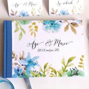 Kék Esküvői Emlékkönyv, Vendégkönyv, könyv, Esküvői vendégkönyv, kék virágos, kékvirág, világoskék, vízfesték (LindaButtercup) - Meska.hu