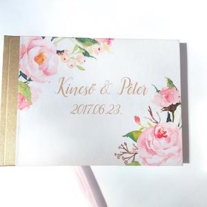 Esküvői Emlékkönyv, Mályva, Vendégkönyv, virágos könyv, virág, elegáns, rózsás, rózsaszín, rózsa, romantikus, Esküvő, Vendégkönyv, Emlék & Ajándék, Esküvői emlékkönyv, vendégkönyv arany gerinccel és rózsaszín szalaggal  MÉRET: Fekvő A5 Ha szükséges..., Meska