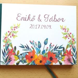 Esküvői Emlékkönyv, Vendégkönyv, virágos könyv, elegáns, rusztikus, őszi, ősz, rétivirágos, réti virág, mezei, bohém (LindaButtercup) - Meska.hu