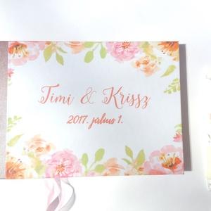 Esküvői Emlékkönyv, Vendégkönyv, virágos könyv, virág, elegáns, rózsás, rózsaszín, rózsakert, romantikus, vízfesték (LindaButtercup) - Meska.hu