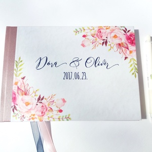 Esküvői Emlékkönyv, Vendégkönyv, virágos könyv, virág, elegáns, rózsás, rózsaszín, rózsakert, romantikus, rózsa, Vendégkönyv, Emlék & Ajándék, Esküvő, Fotó, grafika, rajz, illusztráció, Papírművészet, Esküvői emlékkönyv, vendégkönyv\nmályva gerinccel és rózsaszín szalaggal\n\nMÉRET:\nFekvő A5\nHa szüksége..., Meska