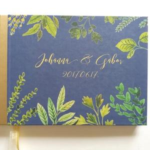 Greenery Esküvői Emlékkönyv, Vendégkönyv, könyv, Esküvői vendégkönyv, zöld levél, fűszernövény, fűszer, rozmaring (LindaButtercup) - Meska.hu