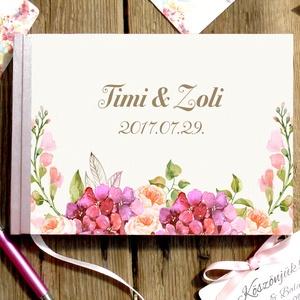 Esküvői Emlékkönyv, Mályva, Vendégkönyv, virágos könyv, virág, elegáns, rózsás, rózsaszín, rózsa, romantikus, hortenzia, Vendégkönyv, Emlék & Ajándék, Esküvő, Fotó, grafika, rajz, illusztráció, Papírművészet, Esküvői emlékkönyv, vendégkönyv\nMályva gerinccel és szalaggal\n\nMÉRET:\nFekvő A5\nHa szükséges más mére..., Meska