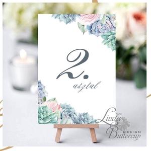 Asztalszám kártya, Ültetési rend, Dekoráció, kellék, Esküvői lap, Esküvő Dekor, Esküvői felirat, kártya, virágos, Esküvő, Esküvői dekoráció, Dekoráció, Otthon & lakás, Kép, Fotó, grafika, rajz, illusztráció, Papírművészet, 10x15 cm-es ASZTALSZÁM\nEsküvői kártya / Lap. Standard álló képkeretbe, asztalra.\n\nEgyéb méretek kérh..., Meska