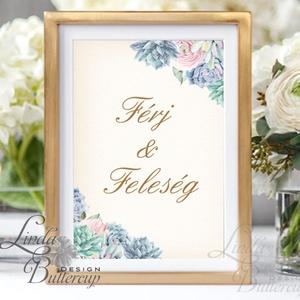 Férj és feleség felirat, asztalszám, desszert asztal, Dekoráció, Esküvői lap, Esküvő Dekor, Esküvői felirat, kövirózsa, Esküvő, Esküvői dekoráció, Dekoráció, Otthon & lakás, Kép, Fotó, grafika, rajz, illusztráció, Papírművészet, 10x15 cm-es esküvői felirat\nEsküvői kártya / Lap. \nStandard álló képkeretbe, asztalra.\n\nVÁSÁRLÁSKOR ..., Meska