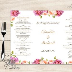 Esküvői Menü, menüsor, itallap, italok, asztalszám, természetközeli, virágos, romantikus, nyugalmas, Menü, Meghívó & Kártya, Esküvő, Fotó, grafika, rajz, illusztráció, Papírművészet, Esküvői Virágos Álló Háromszög Menü Szalaggal\n\nEsküvői Menükártya\nÁlló 3szög forma, 1 oldal: 20x9,5c..., Meska