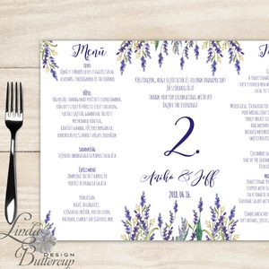 Esküvői Menü, menüsor, itallap, italok, asztalszám, természetközeli, virágos, romantikus, nyugalmas, levendulás (LindaButtercup) - Meska.hu