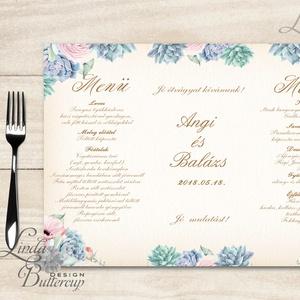 Esküvői Menü, menüsor, itallap, italok, asztalszám, természetközeli, virágos, romantikus, nyugalmas, kövirózsa (LindaButtercup) - Meska.hu
