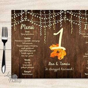 Esküvői Menü, menüsor, itallap, italok, asztalszám, egyedi, mintás, romantikus, nyugalmas, faminta (LindaButtercup) - Meska.hu