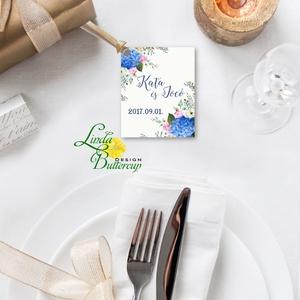 Köszönet kártya, ajándékkísérő,köszönet ajándék, esküvői kísérőkártya, köszönjük, virágos, romantikus, kék (LindaButtercup) - Meska.hu