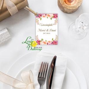 Köszönet kártya, ajándékkísérő,köszönet ajándék, esküvői kísérőkártya, köszönjük, virágos, romantikus, rózsaszín, Esküvő, Meghívó, ültetőkártya, köszönőajándék, Naptár, képeslap, album, Otthon & lakás, Képeslap, levélpapír, Festészet, Fotó, grafika, rajz, illusztráció, Igényes köszönetkártya, ajándékkísérő lyukasztva szalaggal kötve\n\n* MÉRETE: kb: 5.4 x 8 cm\nMás méret..., Meska