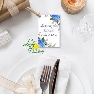 Köszönet kártya, ajándékkísérő,köszönet ajándék, esküvői kísérőkártya, köszönjük, virágos, romantikus, kék, kékes (LindaButtercup) - Meska.hu