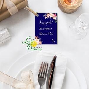 Köszönet kártya, ajándékkísérő,köszönet ajándék, esküvői kísérőkártya, köszönjük, virágos, romantikus, kék, sötétkék - Meska.hu