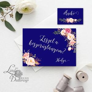 tanú felkérő lap, Örömanya, Örömapa, köszönet, koszorúslány felkérő lap, Esküvői Képeslap, sötétkék, design (LindaButtercup) - Meska.hu