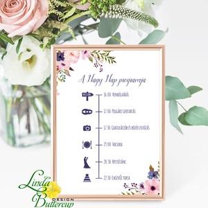 Esküvői felirat, Dekoráció, Program, desszert asztal, Esküvői lap, Esküvő Dekor, Esküvői felirat, virágos (LindaButtercup) - Meska.hu