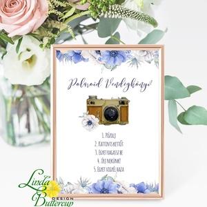 Polaroid fotó Esküvői Felirat A4, fénykép, fotó albumhoz, Esküvői kép, Esküvő Dekor, Esküvői felirat, virágos, kékes, Esküvő, Tábla & Jelzés, Dekoráció, A/4-es Esküvői Felirat Dekoráció, bármilyen szöveggel, keret nélkül.  Bármilyen feliratot kérhetsz r..., Meska