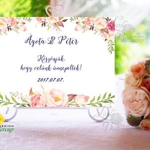Esküvői Felirat A4, Köszöntő, Üdvözlő, idézet, virágos, rózsaszín, természetközeli, természetbarát, romantikus (LindaButtercup) - Meska.hu