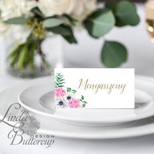 Esküvői ültetőkártya, ültető, virágos ültető, ültetésirend, hely kártya, romantikus, nyugalmas (LindaButtercup) - Meska.hu