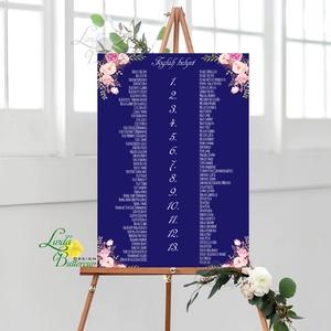 Bohó Ültetési rend, Natúr, sötétkék, seat chart, seating plan, Esküvői ültetésirend, Ültetők, Ültetésrend, virágos, Esküvő, Ültetési rend, Meghívó & Kártya, Fotó, grafika, rajz, illusztráció, Papírművészet, Meska