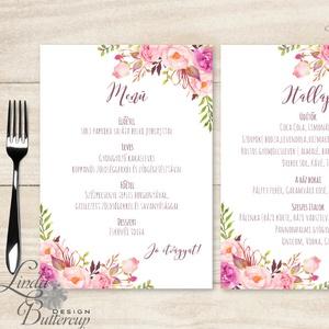 Két lapos Menü, Itallap, Étlap, Vacsora, esküvői menüsor, virágos, romantikus, nyugalmas, békés, Esküvő, Meghívó & Kártya, Menü, Fotó, grafika, rajz, illusztráció, Papírművészet, Két lapos egy oldalas Menü / Itallap\n\n* Egy oldalas nyomtatás : kb. 13cm x 18cm\n\nEgyszeri szerkeszté..., Meska