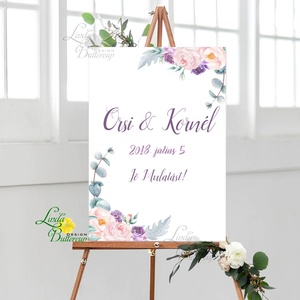 Esküvői Poszter A3, Esküvői kép, Esküvő Dekor, Felirat, Tábla, virágos, romantikus, köszönjük felirat, Esküvő, Tábla & Jelzés, Dekoráció, Fotó, grafika, rajz, illusztráció, Papírművészet, Meska