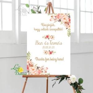 Esküvői Poszter A3, Esküvői kép, Esküvő Dekor, Felirat, Tábla, virágos, romantikus, köszönjük felirat (LindaButtercup) - Meska.hu