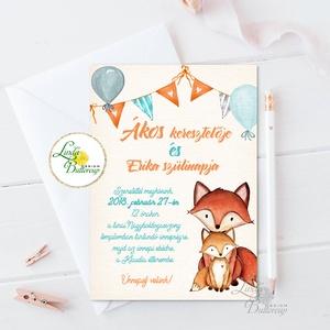 Keresztelő meghívó, róka, Babaváró képeslap, Babaköszöntő, kisfiú, kislány, baba, baby, újszülött, róka család, rókás (LindaButtercup) - Meska.hu