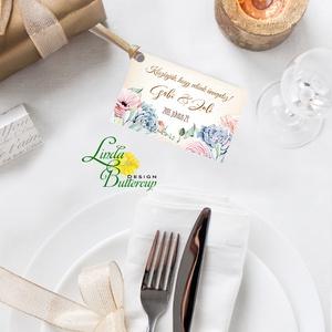 Köszönet kártya, ajándékkísérő,köszönet ajándék, esküvői kísérőkártya, köszönjük, virágos, romantikus, kövirózsa, Esküvő, Köszönőajándék, Emlék & Ajándék, Igényes köszönetkártya, ajándékkísérő lyukasztva szalaggal kötve  * MÉRETE: kb: 5.4 x 8 cm Más méret..., Meska