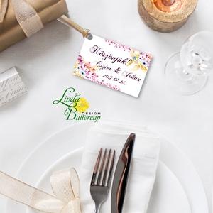 Köszönet kártya, ajándékkísérő,köszönet ajándék, esküvői kísérőkártya, köszönjük, virágos, romantikus, színes, Esküvő, Meghívó, ültetőkártya, köszönőajándék, Naptár, képeslap, album, Otthon & lakás, Képeslap, levélpapír, Festészet, Fotó, grafika, rajz, illusztráció, Igényes köszönetkártya, ajándékkísérő lyukasztva szalaggal kötve\n\n* MÉRETE: kb: 5.4 x 8 cm\nMás méret..., Meska