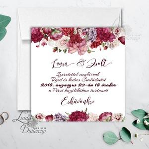 Bordó virágos meghívó, esküvői meghívó, romantikus, virágos lap, nyugalmas,  lbordó virágos lap, rózsa meghívó, marsala (LindaButtercup) - Meska.hu