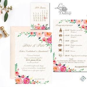 Esküvői meghívó, Virágos Esküvői lap, Esküvő Képeslap, rózsa lap,  rózsaszín meghívó, Esküvő, Meghívó, ültetőkártya, köszönőajándék, Naptár, képeslap, album, Otthon & lakás, Képeslap, levélpapír, Fotó, grafika, rajz, illusztráció, Papírművészet, Minőségi Virágos Esküvői  Meghívó\n\n* MEGHÍVÓ CSOMAG BORÍTÉKKAL:\n- 1.  -Meghívó lap, egy oldalas: kb...., Meska