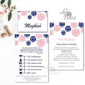 Esküvői meghívó, Esküvői lap, Esküvő Képeslap, rózsa lap,  rózsaszín meghívó, kék, lampion, egyedi, Esküvő, Meghívó, ültetőkártya, köszönőajándék, Naptár, képeslap, album, Otthon & lakás, Képeslap, levélpapír, Fotó, grafika, rajz, illusztráció, Papírművészet, Minőségi Esküvői  Meghívó\n\n* MEGHÍVÓ CSOMAG BORÍTÉKKAL:\n- 1.  -Meghívó lap, egy oldalas: kb.:  9.5cm..., Meska