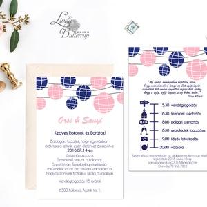 Elegáns Dupla oldlalas Esküvői meghívó,Nyári Esküvő, Modern, lampion, lampionok, kék-rózsaszín (LindaButtercup) - Meska.hu